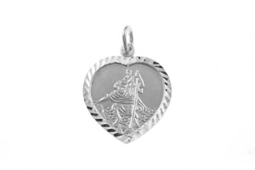 Sterling Silver Heart Shaped St. Christopher Including Chain BU1318